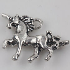 10Pcs Tibet Silver Unicorn Charm Loose Pendant Beaded Jewelry Findings 20x15mm