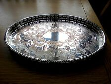 Lovely Viners Silver Plated on Copper Oval Gallery Tray