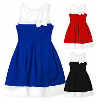 Girls Sleeveless Waffle Block Colour Party Dress New Kids Dresses Age 6-12 Years