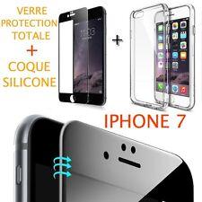 iPhone 7 VERRE TREMPE NOIR Film de protection Intégral Total écran 4.7 + COQUE