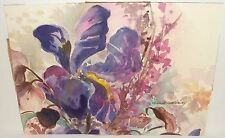 SHEILA PARSONS FLORAL PURPLE FLOWERS ORIGINAL WATERCOLOR PAINTING LISTED