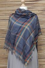 LAGENLOOK OVERSIZE*SILK*SQUARE SOFT HIGHLAND TARTAN FRAYED SCARF*BLUE*SCARVES