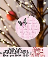 """Personalized Memorial Breast Cancer Awareness Ornament  3""""Flat OneSided Ceramic"""