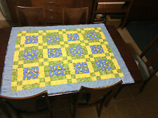 Handmade Baby Boy Girl Quilt Crib Blanket Frog Bird Green Yellow Mushroom Polka
