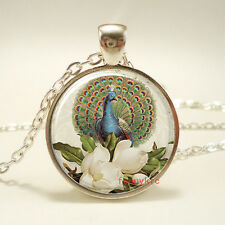 1pcs Vintage peacock Cabochon Silver plated Glass Chain Pendant Necklace