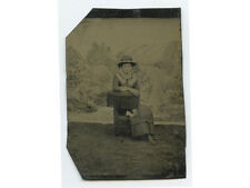 YOUNG LADY IN POSING STOOL W/ GREAT HAT TINTYPE STUDIO PORTRAIT