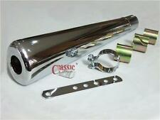 Oval Chrome Megaphone Silencer Ideal For Yamaha SR500 Cafe racer