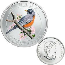 2013 Canada 25 cent Coloured Coin - American Robin
