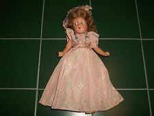 """1940s Composition 11"""" Doll Painted Blue Eyes Original Dress Shoes Hat Very Good"""