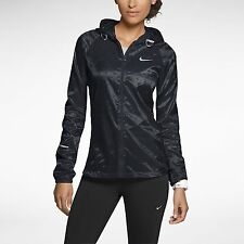 NIKE VAPOR CYCLONE WOMENS TRACK PACKABLE RUNNING JACKET 588657 010 BLACK $135 XS