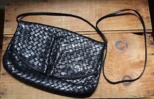 Vintage Black Woven Leather Purse Shoulder Bag 70s 80s Retro EUC Buttery Soft