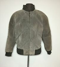 Vtg Members Only Jacket Leather Jacket Grayish Brown Coat Size 40