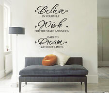 """Inspirational """"Believe Wish Dream"""" Wall Stickers Removable Vinyl Decal Art Quote"""