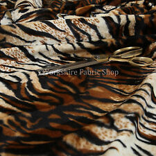 Safari Animal Tiger Brown Black Stripe Pattern Soft Velvet Fur Upholstery Fabric