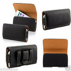 GENUINE LEATHER BLACK BELT CLIP CASE POUCH SAMSUNG APPLE iPHONE SONY HTC NOKIA