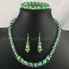 AB Olive Drab Crystal Faceted Beads Necklace Bracelet Earrings SET G4872
