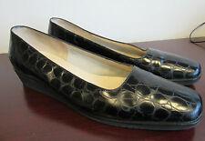 SALVATORE FERRAGAMO Boutique Black Leather Faux Croc Wedge Loafer Pump 10 B