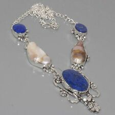 "D10941 ANTIQUE STYLE ! Lapis Lazuli & 925 Silver Overlay Necklace 18"" Jewelry"