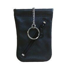 Bianci Leder Schlüsseltasche schwarz, Leder Schlüsseletui, 1 Ring, 1 RV-Fach