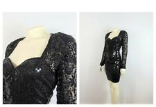 Vintage Dress Niteline by Della Roufogali Black Sequin Beaded Black Lace Sz 8