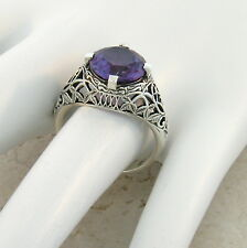 5 CT. COLOR CHANGING LAB ALEXANDRITE ANTIQUE STYLE .925 SIVER RING SIZE 5,   #40