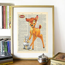 Disney Bambi & Thumper Mock Dictionary Page Art Print Poster.