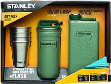 Stanley Adventure Stainless Steel Shots + 8oz Flask Gift Set Hammertone Green