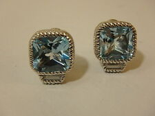 JUDITH RIPKA STERLING BLUE TOPAZ & DIAMONIQUE BUTTON EARRINGS NEW CLIP ON