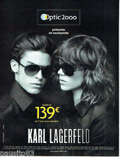 PUBLICITE ADVERTISING 056  2010 Optic 2000 lunettes solaires Karl Lagerfeld