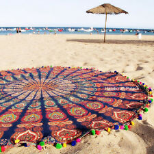 Indian Round Peacock Mandala Tapestry Throw Blanket Beach Yoga Mat Rug Hippie