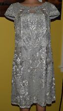 TONY WARD HAUTE COUTURE EMBROIDERED SILVER BEADED APPLIQUE  DRESS  SIZE 14