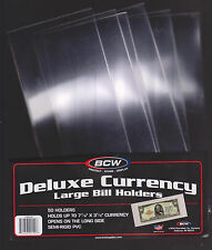 (10) LARGE BCW DELUXE CURRENCY SLEEVE BILL PAPER NOTE MONEY HOLDERS SEMI RIGID01