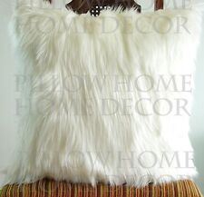 Ivory Fur pillow throw 12 X 12 fluffy fur white linen pillow cover decorative