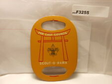 FAR EAST COUNCIL SCOUT-O-RAMA LEATHER  NECKERCHIEF SLIDE F3255
