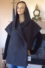 CALVIN KLEIN WOMEN CHARCOAL KNIT SLEEVE COCOON HOODED COAT NWT SIZE S