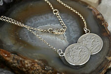 "Ladies Stylish 925 Sterling Solid Silver 18-19"" Double  St George Coin Necklace"