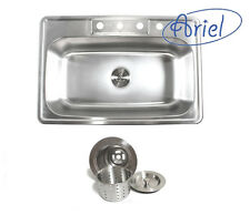33 inch Stainless Steel Drop in Single Bowl Kitchen Sink w/ Deluxe Strainer