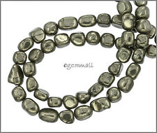 """15.8"""" Golden Pyrite Tumble Nugget Beads ap.6-7mm #85380"""