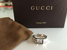 GUCCI BAMBOO RING WHITE TOPAZ SIlver New in Box Size 14