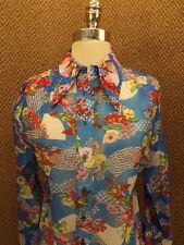 Vtg 60s NEW Ethnic Bold Colors Oriental Nylon Chiffon Casual Button Down Shirt M