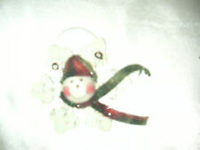 "Wooden 3.5"" Snowflake Snowman Christmas Ornament NEW"