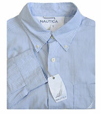 NAUTICA Blue Men's L Classic Fit L/S Button Down Collar Pinstripe Shirt $65 NEW