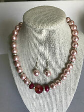 New cultured pink pearl necklace with earrings 925 kt silver acc with earrings