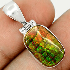 Genuine Canadian Ammolite  925 Sterling Silver Pendant Jewelry SP209323