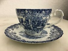 JOHNSON BROTHERS COACHING SCENES BLUE & WHITE CUP & SAUCER SET!