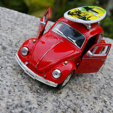 Vw Beetle 1967 Classic + surfboard Alloy Diecast Model Cars Toys Gifts New Red