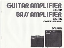 Vintage YAMAHA - BASS and GUITAR AMIPLIFIER owners manual G30-112 B30-115