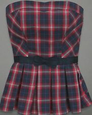 NEW! Abercrombie and Fitch Tube Top Strapless Red Navy Blue white Plaid w Ribbon