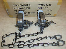 2 New  Duke #1 Coil Spring Traps  Raccoon Fox Nutria Muskrat Trapping