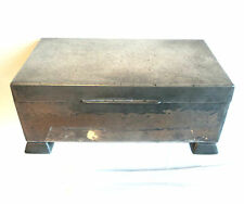 Vintage KNIGHTHOOD Old English PEWTER CIGAR BOX Art Deco c.1920s-30s Hammered